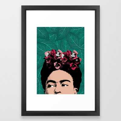Floral Frida Framed Art Print by Printsproject - Vector Black - SMALL-15x21 - Society6