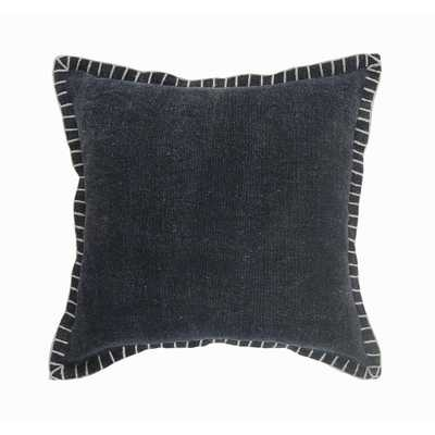 LR Home Knight Midnight Blue Solid Embroidery Edges Soft Poly-fill 18 in. x 18 in. Throw Pillow - Home Depot