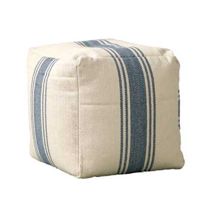 Cream Pouf with Blue Stripes - Nomad Home