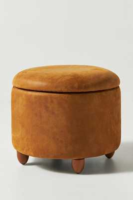 Winchester Leather Louise Storage Ottoman By Anthropologie in Beige - Anthropologie
