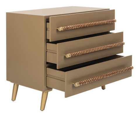 Raquel 3 Drawer Chest - Taupe/Gold - Arlo Home - Arlo Home