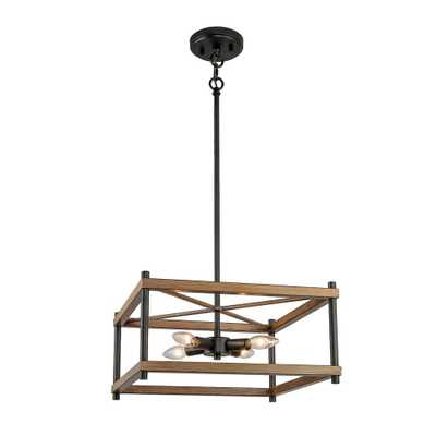 LNC Eniso 4-Light Black Ceiling Pendant with Painted Pine Accents - Home Depot