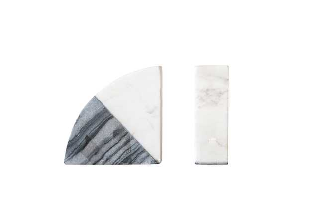 White & Grey Marble Bookends (Set of 2 Pieces) - Moss & Wilder