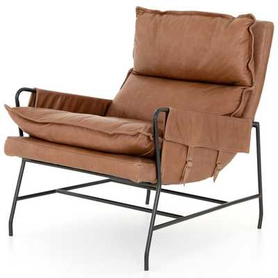 Tanya Rustic Lodge Brown Leather Iron Arm Chair - Kathy Kuo Home