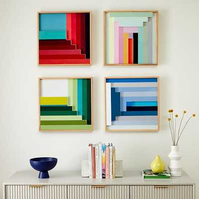 Margo Selby Colorblock Lacquer Square Wall Art, Set of 4 - West Elm