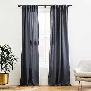 "Belgian Linen Curtain, Iron Blue, 48""x96"" - West Elm"