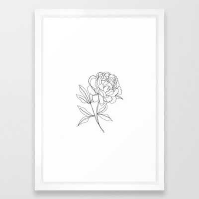 Botanical Illustration Line Drawing - Peony Framed Art Print by The Colour Study - Vector White - SMALL-15x21 - Society6