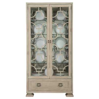 Sarabeth Modern French China Patterned Cast Grille Overlay Glass Wood Display Cabinet - Kathy Kuo Home