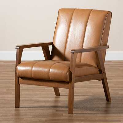 Kinley Mid-Century Modern Tan Faux Leather Upholstered And Walnut Brown Finished Wood Lounge Chair - Wayfair