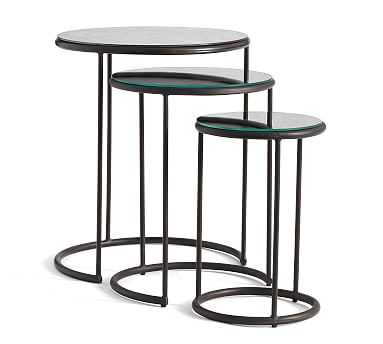 Round Antique Mirrored Nesting End Tables - Pottery Barn