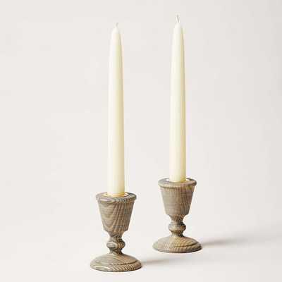 Countryman Candlesticks Pair, Gray Set Of 2 - West Elm