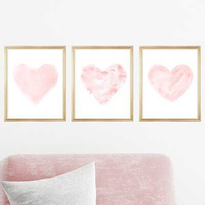 Romantic Watercolor Heart Prints, Set of 3 Paper Prints - Wayfair