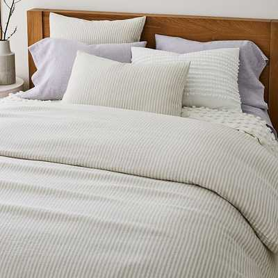 European Flax Linen Classic Stripe Duvet, Full/Queen, Natural Flax - West Elm