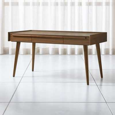 """Tate 60"""" Walnut Desk with Power Outlet - Crate and Barrel"""