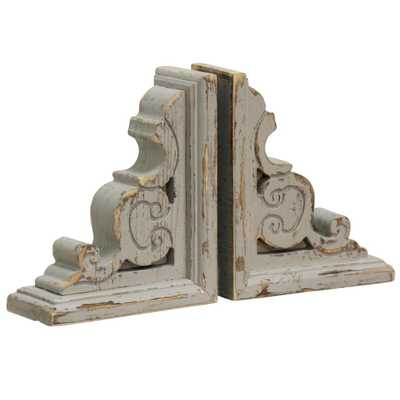 StyleCraft Tradition Distressed Taupe Wood Book Ends (2-Pack), Gray - Home Depot