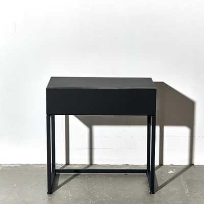 Gramercy Bedside Table Steel, Black - West Elm