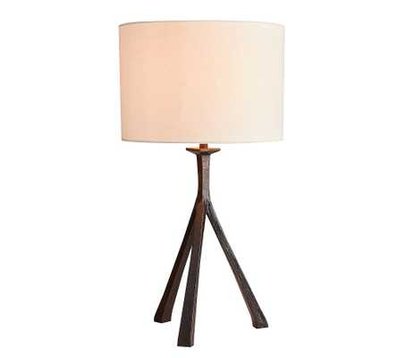 Easton Forged-Iron Tripod Table Lamp with Medium Straight Sided Gallery Shade, Bronze - Pottery Barn