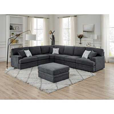 """Episkopi 5 Seater Large  141.5"""" Right Hand Facing Sectional Sofa With Ottoman - Wayfair"""