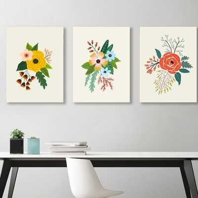 Flowers by Suren Nersisyan - 3 Piece Picture Frame Print Set on Canvas - AllModern