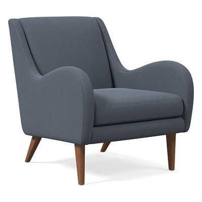 Sebastian Chair, Performance Velvet, Corn Flower, Pecan - West Elm