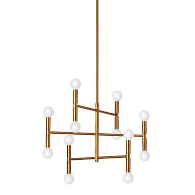 Dainolite Ava 12 Light Vintage Bronze Chandelier with No Shades - Home Depot