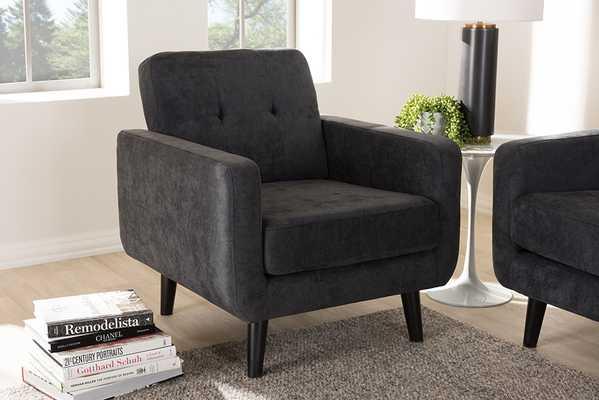 Baxton Studio Carina Mid-Century Modern Dark Grey Fabric Upholstered Lounge Chair - Lark Interiors