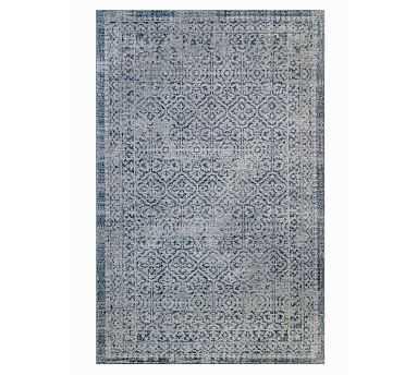 Prehn Printed Handwoven Rug, 8x10', Indigo - Pottery Barn