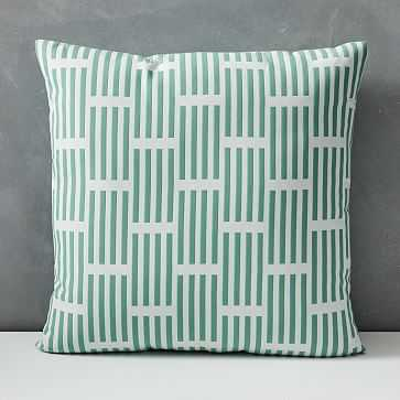 "Outdoor Lattice Pillow, 18""x18"", Sea Green - West Elm"