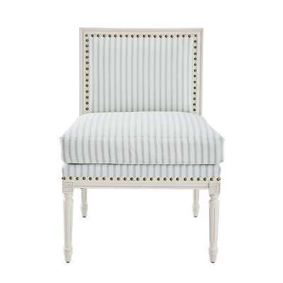 Limited Edition Louis Slipper Chair in Parker Stripe Spa Gray with White Finish   - Ballard Designs - Ballard Designs