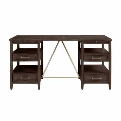Stone & Leigh™ Furniture Chelsea Square Solid Wood Credenza Desk Color: Raisin - Perigold