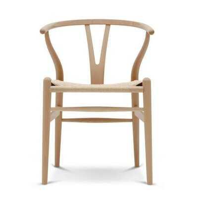 Tesch Solid Wood Slat Back Side Chair in Beige - Wayfair