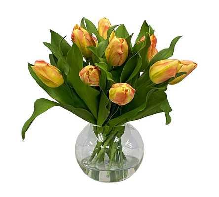 Faux Yellow & Orange Tulip Composed Arrangement, Glass Bowl Vase - 14'' - Pottery Barn