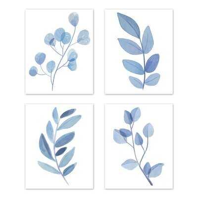 Botanical Single Flower Art Paper Print (Set Of 4) By Sweet Jojo Designs in , Blue - Wayfair