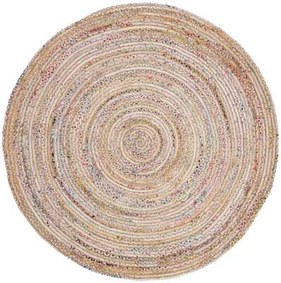 Arlo Home Hand Woven Area Rug, CAP202B, Beige/Multi,  7' X 7' Round - Arlo Home