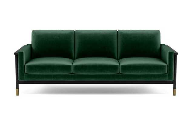 Jason Wu Sofa with Green Malachite Fabric and Matte Black with Brass Cap legs - Interior Define