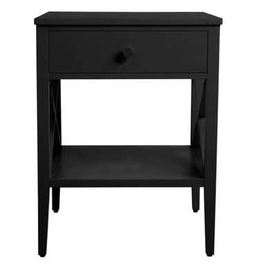 StyleWell Oakley Rectangular Black Wood 1 Drawer End Table with X Side Detail (18 in. W x 24 in. H) - Home Depot