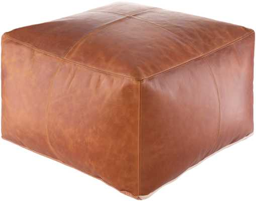 Fiske Leather Pouf - Haldin