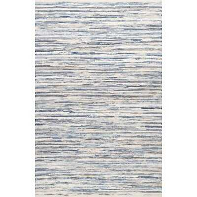 Kiester Striped Hand Hooked Cotton Blue/White Area Rug - Wayfair