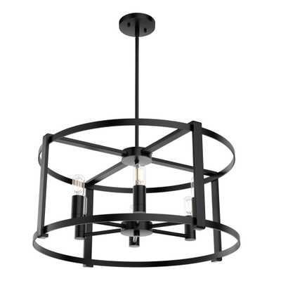 Hunter Astwood 6-Light Matte Black Drum Chandelier - Home Depot