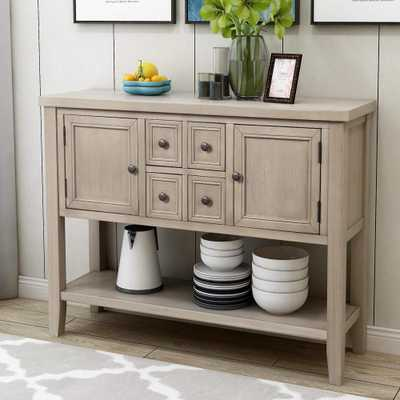 Harper & Bright Designs Grey Charlotte Sideboard Console Table with 4-Storage Drawers and Bottom Shelf - Home Depot