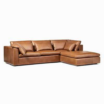 Harmony Modular Sectional Set 01: Left Arm Sofa + Corner + Ottoman, Down, Saddle Leather, Nut, Concealed Supports - West Elm