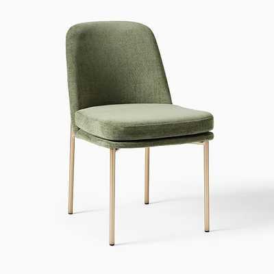 Jack Metal Frame Dining Chair, Distressed Velvet, Green Spruce, Light Bronze - West Elm