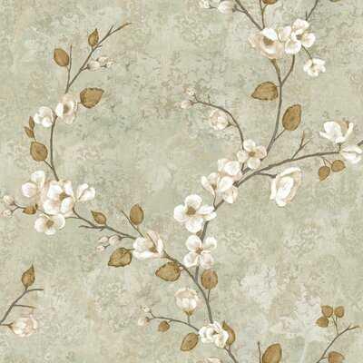 "Hiltz Dogwood 33' L x 20.5"" W Floral Medium / Large Wallpaper Roll - Birch Lane"
