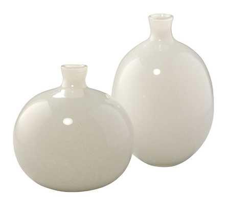 Vivienne White Glass Vases, Set Of 2 - Pottery Barn