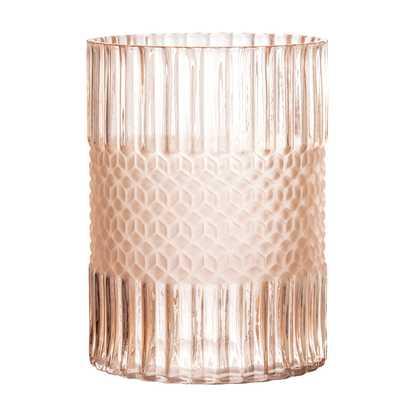 Elegant Matte Pink Embossed Glass Vase - Moss & Wilder