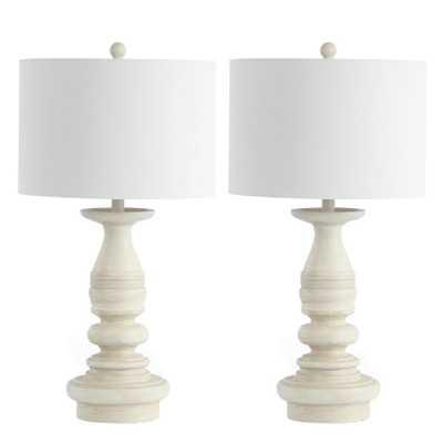 Safavieh Jareth 29 in. White Wash Table Lamp- Set of 2 - Home Depot
