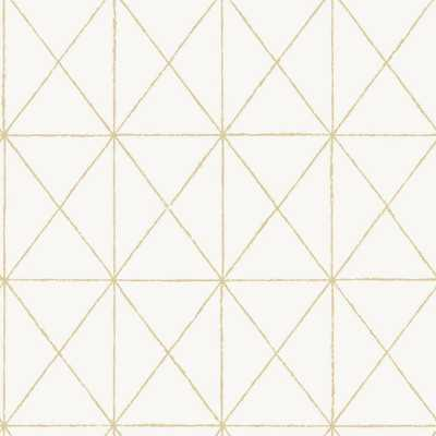NuWallpaper White and Gold Get In Line Strippable Peel and Stick Wallpaper (Covers about 30.75 sq. ft), White & Gold - Home Depot
