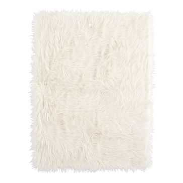 "Furrific Throw, 45""x50"", Ivory - West Elm"