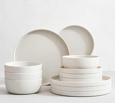 Mason Edge Melamine, 12-Piece Set - Ivory - Pottery Barn