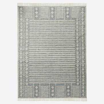 Diamond Brim Indoor/Outdoor Rug, 5'x8', Petrol Blue - West Elm